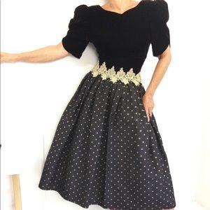 Vintage Velvet Taffeta Polka Dot Gown Dress
